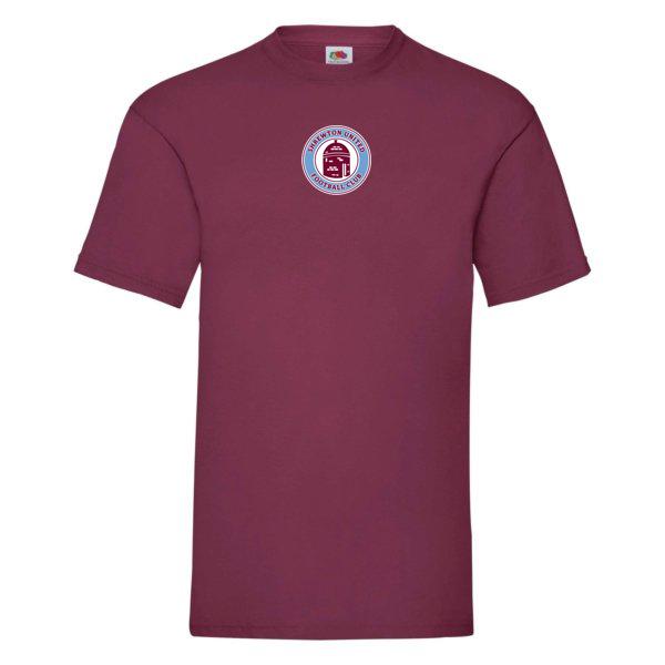 Shrewton United Fruit of Loom Valueweight T Shirt Burgundy